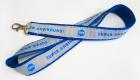 Polyester Schlüsselband mit aufgenähtem Jacquard Lanyard und eingewebtem Logo