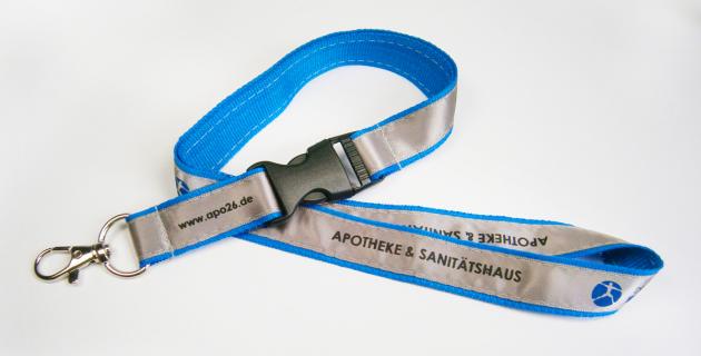 Polyester Schlüsselband mit aufgenähtem Satin Lanyard und gedrucktem Logo