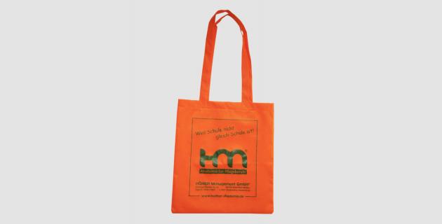 Vliestaschen mit langen Henkeln und Siebdruck HM