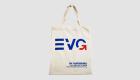 Baumwoll-Stofftasche mit kurzen Henkeln und Siebdruck EVG